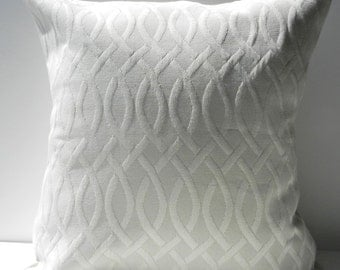 New 18x18 inch Designer Handmade Pillow Cases in warm white woven fabric with trellis pattern