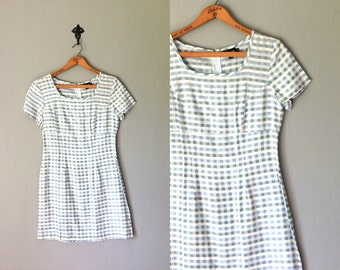 Vintage MY MICHELLE Dress • 1990s Clothing •Plaid Short Sleeve Cap Mini Bodycon Square Neckline Light Blue White Pearl Check •Extra Small