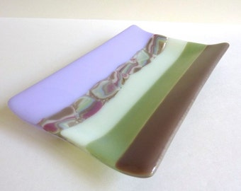 Fused Glass Dish in Mocha, Green and Lavender