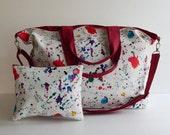 Sale - Printed waxed canvas in white - Diaper bag, Tote, Messenger bag, Travel bag, Gym bag, School bag - Gorgia