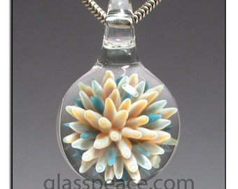 Sea Anemone Lampwork Pendant glass jewelry focal necklace bead - Glass Peace glass jewelry (6002)