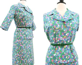 Vintage 60s Suit MOD Bright Geometric Psychedelic Skirt Jacket S NOS
