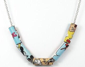 Paper Bead Jewelry- Upcycled Disney Comic Book Paper Bead Necklace, Comic Book Jewelry, Disney Jewelry, Comic Book Gift, Paper Jewelry