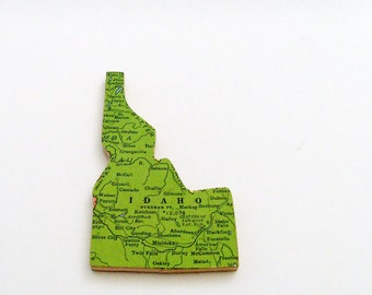 Idaho Brooch - Lapel Pin / Upcycled 1940s Straus Wood Puzzle Map Piece / Unique Wearable History Gift Idea / Timeless Gift Under 25