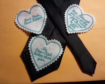 Embroidered wedding day tie label personalized custom monogramed for him suit tuxedo