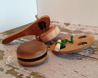 Toys - Set of 3 Handcrafted Wooden Folk Toys that Spin Includes Top, Yo-Yo and Spinning Wheel