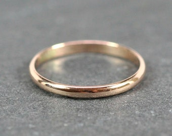 14K Rose Gold 2x1mm Half Round Ring, Smooth Polished Finish, Recycled Gold Wedding Ring, Sea Babe Jewelry