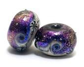 10706331 - Pair of Amethyst Jewel Celestial Rondelle Beads - Handmade Glass Lampwork Beads