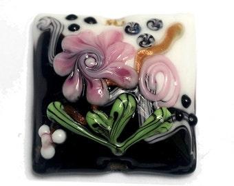 Handmade Glass Lampwork Bead - Black & White w/Pink Flower Pillow Focal Bead 11809304