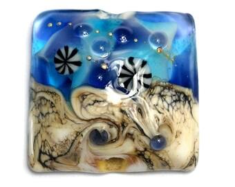 Transparent Blue Seashell Pillow Focal Bead - Handmade Glass Lampwork Bead 11815904