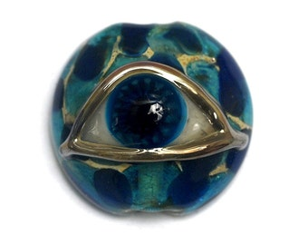Glass Lampwork Bead  - Blue Eyed Lentil Focal Bead 11830602