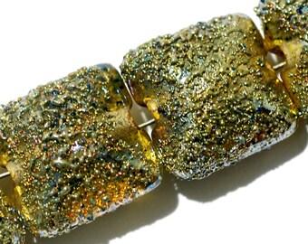 Lampwork Glass Set 40101004 - Seven Golden Green Metallic Pillow Beads
