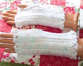 Crochet fingerless gloves - pastels tweed