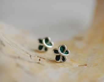 Forget Me Not Flower Post Earrings, 1st Anniversary Paper Gift Jewelry, Bridesmaid Gift, Sterling Silver Studs, Forest Pine, Emerald Green