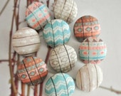 """Fabric Buttons, Covered Button, Geometic Aztec Chevron Buttons, Retro Ethnic Tribal Buttons, Flat Back, Brown Blue Beige Buttons, 0.8 """" 10's"""