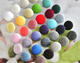 Fabric Buttons Red Pink Yellow Blue Green Beige Gray Black White Plain Buttons, Flat Backs, Covered Buttons 5's 1.25 Inches CHOOSE COLOR