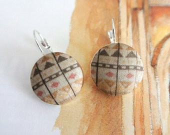 Brown Beige Aztec Tribal Ethnic geometric chevron silver ear earrings hoops clips, CHOOSE STYLE