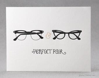 Letterpress Wedding/ Love Card, Mr. & Mrs. Perfect Pair