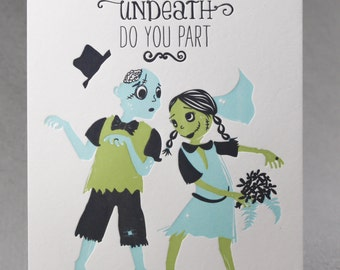 Letterpress Wedding Card, Zombie Wedding