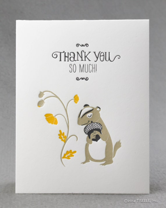 Box of 6 Letterpress Thank You Cards, Thank You Chipmunk