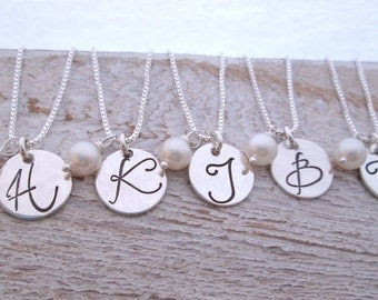 Bridesmaid Jewelry - Bridesmaid Necklaces - Set of 5 - Bridesmaid Initial Necklace - Monogram Necklace