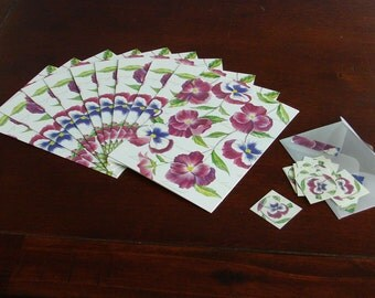10 purple posies blank greeting cards with matching envelopes
