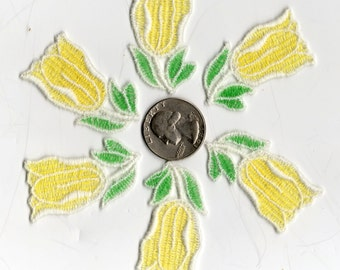 Lot of 6 - Vintage Yellow and Green TULIP FLOWER APPLIQUES Patches 3 5/8 tall