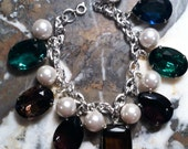 "Statement One-of-a-kind Vintage Jewel and Pearl charm bracelet 8 1/2"" length"