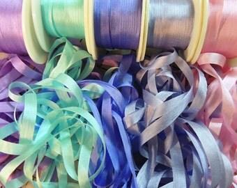 RibbonSmyth Lilac and Teal 4mm silk ribbon combo pack 25 yards