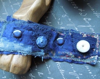 Navy Blue Textile Cuff with 3 Blue and 1 Creme Buttons