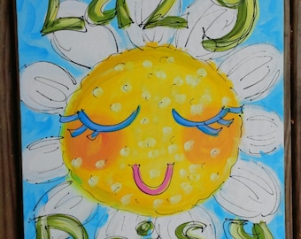 "Lazy Daisy Original Canvas Painting Made To Order 16""x 20"" YelliKelli"