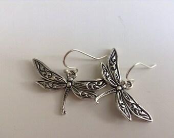 Dragonfly Earrings, silver dragonfly earrings, insect earrings