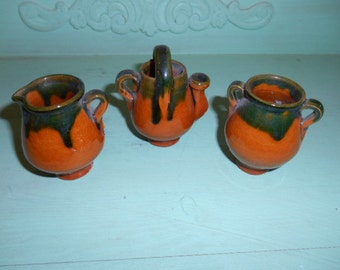 Vintage Pottery 3 Mini Pieces Sugar Bowl Creamer and Pitcher