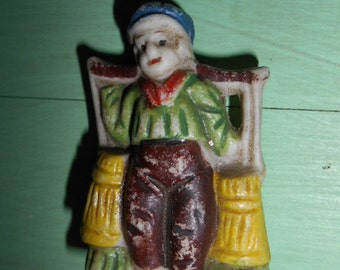 Vintage Small Porcelain Figurine Dutch Boy carrying Water Marked Made in Japan