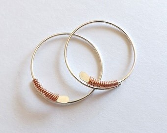 Silver Hoop Earrings Copper Wire Wrapped Lightweight Sterling Silver Small Hoops Gift for Her, Womens jewelry Gift