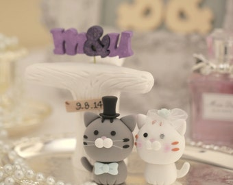 cat and kitty Wedding Cake Topper---k884
