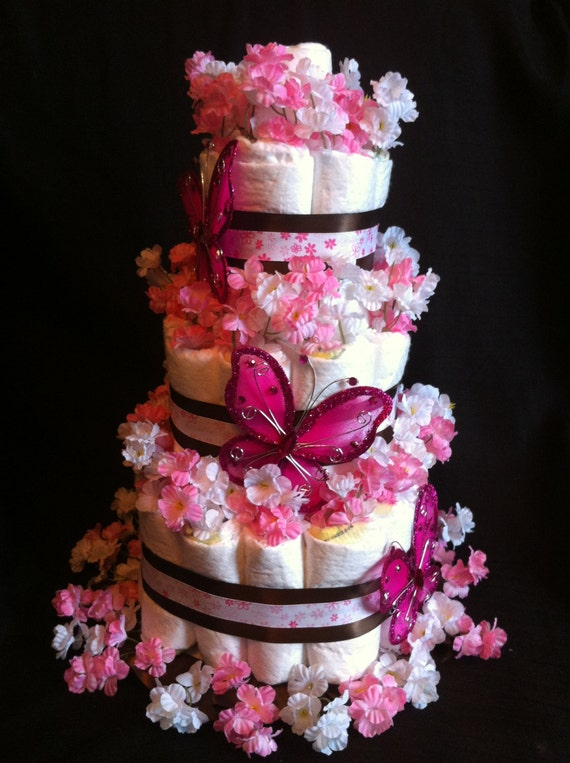 Items Similar To 3 Tier Girls Butterfly Diaper Cake For
