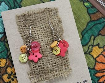 Repurposed Button Dangle Earrings