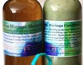 8oz Moringa shampoo, Moringa Conditioner set + Shampoo Brush