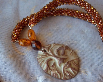 Ceramic Greenman Necklace in Autumn Colors Rope  Inches 25 Inch Necklace Druid Jewelry-Pagan Jewelry-Magic Amulet -Priestess Gift-Druid Gift