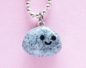 Happy Pet Rock Necklace  (D1E5)