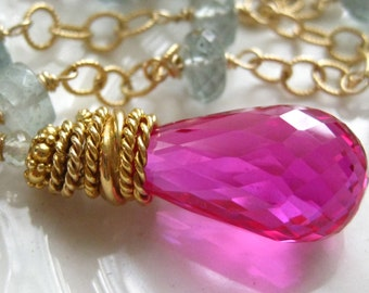 Pink Topaz Pendant with Aquamarine- Fire and Ice