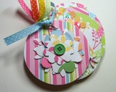Pink, Blue and Green Flower Mini Scrapbook Album, Mini Flower Album, Mini Flower Brag Book, Mini Flower Photo Album, Flower Album
