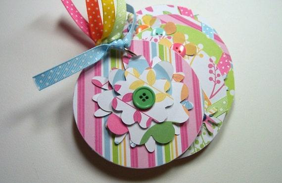 Pink, Blue and Green Flower Mini Scrapbook Album, Mini Flower Album, Mini Flower Brag Book, Mini Flower Photo Album, Flower Album