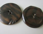 Vintage Buttons 2 Collector celluloid, wonderful novelty designs extra large, in brown, metal backs (193-4)