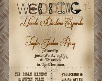 Hot Air Balloon Steampunk Wedding Invitations