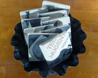 TED NUGENT recycled Free For All album cover coasters with wacky vinyl bowl