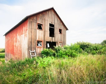 Red Shack on Tucker Rd - Fine Art Color Photograph, Charming Rustic Red Shack, Free Shipping, 8x10 Fine Art Print for home and office.