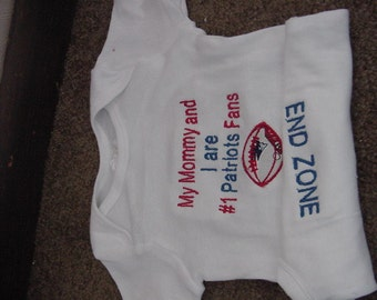 New England Patriots Football Baby Infant Newborn Creeper Short or long Sleeves Personalized Embroidered