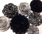 Handmade Spiral Flowers Set of Seven - Formal Black Tie